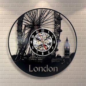 London cityscape Ferris wheel vinyl wall clock modern home decor personalità wall art clock (Dimensioni: 12 pollici, colore: nero)