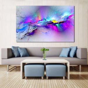Hayır Özet Hoqnu İçin Yaşayan Duvar Resimleri Boyama JQHYART Dekor Bulutlar Petrol Ana Çerçeve Odası Tuval Sanat Renkli