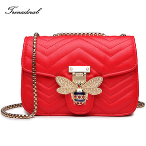 Trenadorab Luxury Diamond Design Women Handbag Fashion Bee Messenger Bag  Style PU Leather Bags Female Shoulder Bag