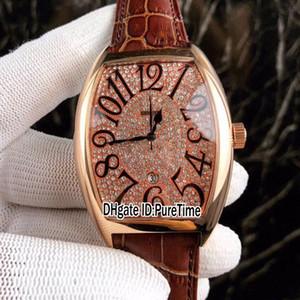 Новые Сумасшедшие Часы Casablanc 8880 Розовое Золото Алмазный Циферблат Черный Большой Номер Марка Автоматические Мужские Часы Коричневый Кожаный Ремешок 4 Стили Lxuury F123b2