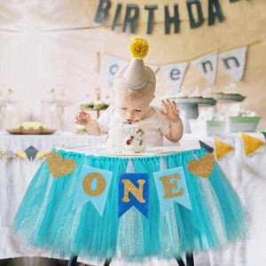Primo compleanno del bambino Blu Rosa Chair Banner ONE Anno 1st Birthday Party Decoration Boy Girl Io sono uno Supplies Bunting