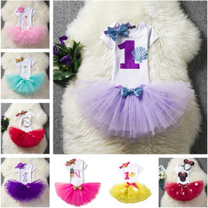 44 Style Newborn 2018 Flower Party Clothes Set Baby Girl One Years First Birthday Tutu Outfits for Girls Tulle Toddler Baby Clothing Suit