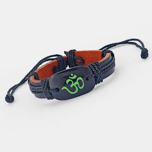 12pcs Bracelet en cuir noir OM OHM AUM YOGA HINDI OMKARA Bracelet à breloques