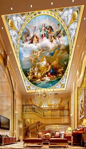 Personalizado Venta al por menor Dioses Evangelio Gran carácter europeo Pintura al óleo Zenith Mural Tamaño Ángel en el cielo Stupa Mural