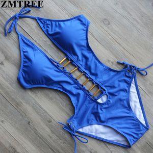 ZMTREE 2017 Neueste Bademode Frauen Badeanzug Sexy Weiß Backless Body Blau Sommer Badeanzug Drücken Monokini