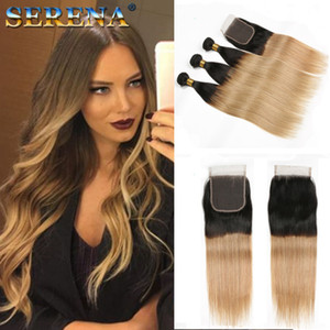T 1B 27 Dark Root Honey Blonde Straight Ombre armadura del cabello humano 3 Bundles con cierre Brazilian Virgin Hair Extensions Paquetes de cabello humano