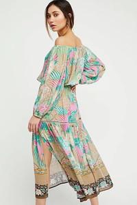 Женское летнее платье Весна и осень Длинная рубашка + юбка Повседневное платье из двух частей Boho Beach Vinatge Длинные платья с цветочным принтом