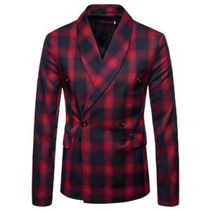 Moda dos homens Malha Ternos Listras Magros Blazers Western-style Roupas de Negócios Um Botão Jogo Colete Outono Inverno