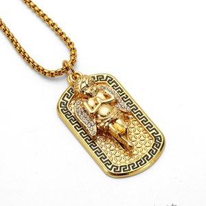 Fashion Men Street Dance Engel Medaille Dog Tag Anhänger Halskette 18k Gold überzogenes 75cm lange Ketten-Rock-Micro Hip Hop Schmuck