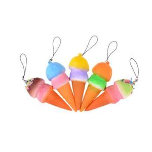 Yumuşak Jumbo Dondurma Koni Cep Telefonu Sapanlar Squishy Yavaş Yükselen Ekmek Antistres Kokulu Anahtar Kolye Charms Çocuk Oyuncakları 8 cm