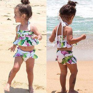 Nova marca Recém-nascidos Da Criança Infantil Criança Kid Baby Girl Flamingo Swimwear Maiô Biquíni 2 Pcs Set Maiô Traje 1-6 T