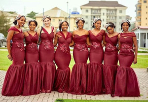 Borgonha africanos longo de chiffon dama de honra vestidos 2020 Querida Sereia com Applique frisada vestidos de festa dama de honra Bridesmaids vestido