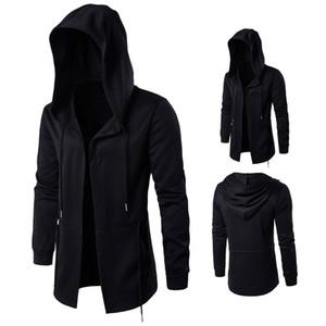 Sonbahar koyu erkek rüzgarlık erkek uzun bölüm cloak cadı cloak kapüşonlu ceket büyük erkek tasarımcı ceketler boyutu XD045