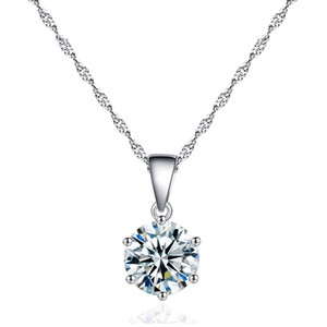 Classic Eternal 2ct Single Stone Heart Necklace and Eight Arrow Zircon Six Claw Necklace CZ Pendant Necklace Small Clean