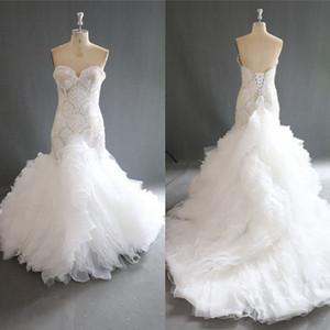 Amazing Mermaid Wedding Dresses 2018 년 여름 아가씨의 아가씨의 신부 가운은 다시 엮인 스윕 기차 웨딩 Vestidos 100 % Real Work