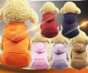 Pet Dog Winter Warm Coat Dog Pocket Felpa con cappuccio Dog Jacket Puppy Teddy Puro colore vestiti di cotone Costumi