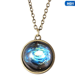 Glas leuchtende Sterne Serie Planet Halskette Kristall Cabochon Anhänger Glow In The Darkness Halsketten Weihnachtsschmuck