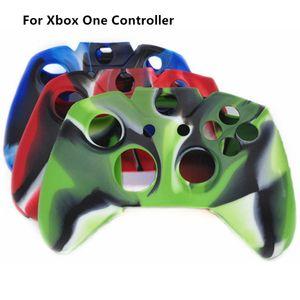 Freies Verschiffen schützende Camouflage weicher Silikon-Gel-Gummiabdeckungs-Haut-Kasten für Xbox eine Steuerpult-Tarnung blau / rot / grün