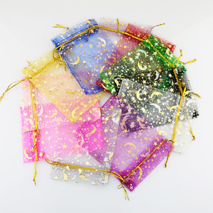 Heißer Verkauf 100 teile / los 7x9mm mond stern muster Organza Schmuck Geschenk Beutel kordelzug Taschen Für Hochzeit favorisiert, perlen, schmuck