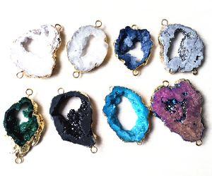 Colorful Crystal Quartz Geode Connector Druzy Perline, fetta Agata Agata Druzy Connettore di gemme perline per la produzione di gioielli