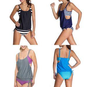 Frau Badeanzug Sommer Dame Bademode Femme Sexy Striped Beach Bikini Bade Plus Größe Zweiteilige Anzüge Camisole 21my V