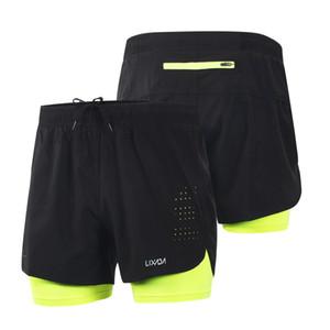 Lixada Hombres Deportes Pantalones Pantalones cortos para correr 2-en-1 Ejecución de entrenamiento Pantalones cortos de secado rápido transpirable fitness Training Short