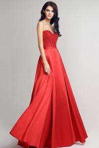 2020 Nouveau printemps et d'été Soutien-gorge formelle robes de soirée en satin rouge Retour longue sangle de perles bal robe de bal HY046