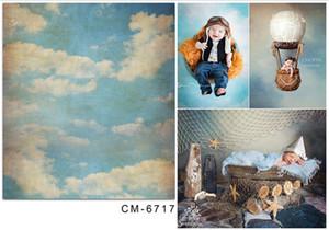 Ретро стиль голубое небо облака Фото фоны Printed Детские Новорожденный Фотографические обои Реквизит студии Photo Shoot фона Урожай