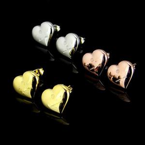 Yüksek Kalite Ünlü Marka Takı Moda Paslanmaz Çelik Lüks Altın gümüş gül altın Kaplama kalp Erkekler Kadınlar Için G Damızlık küpe toptan