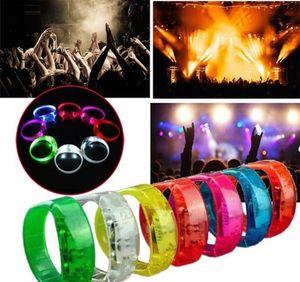 Braccialetto Braccialetto Flash Banda Glow El Light-Up Led Movimento Suono Attivato Wristband Controllo del suono Led Braccialetto lampeggiante Light Up Bangle BBA315