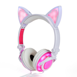 Cartoon Cat Ears Headset For Children Glow Collapsible Mobile Phone Music Headphones Cute Earphone with Retail Package Christmas Gift By DHL