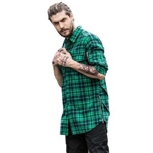 Streetwear Side Zipper Scallop Hip-hop Shirt Men Long Sleeve Spring Curve Hem Flannel Plaid Shirts Men Extended Men's Shirt