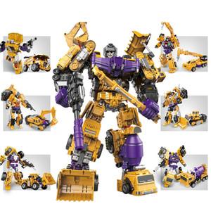 6 В одном из трансформера автомобилей Робота модели игрушки, экскаватор, кран, трактор лопата, автобетоносмесители, Bolldozer, для Xmas Kid именинник подарок, 3-1