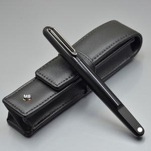 Luxus Weihnachtsgeschenk - Hochwertige M-Serie Schwarzes Harz Magnetverschluss Gelschreiber Füllfederhalter mit MB Branding Echtledertasche