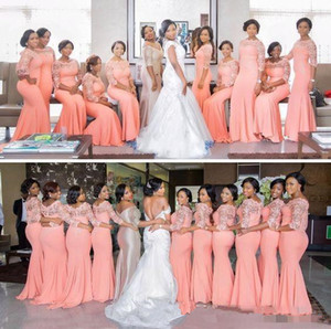 Nigerian African Plus Size Bridesmaid Dresses Coral Half Long Sleeves Top Lace Sweep Train Maid Of Honor Evening Occasion Gowns Cheap