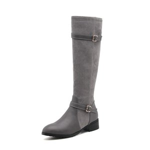 Fashion Hot Sale Womens Ladies Low Cuban Heel Zip Knee High Riding Boots Shoes Size FS-B1035 All By Favoshoes