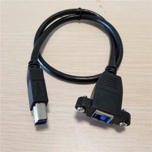 Atacado 100 pçs / lote Parafuso Bloqueio Panel Mount USB 3.0 Tipo B Macho para Fêmea de Extensão da Impressora HDD Gabinete Cabo de Cabo Preto Blindagem 50 cm