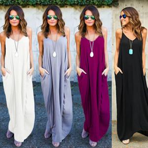 one-piece Maxi dresses Europe and the United States summer women irregular belt collar pocket long skirts