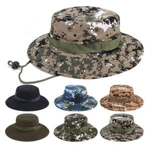 Algodão Dobrável Boonie Hat Esporte Camuflagem Jungle Militar Cap Adultos Mens Womens Cowboy Chapéus Para Pesca Pacotes Army Bucket Caps