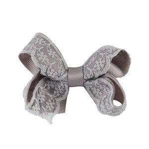 3 '' Lovely Lace Bows de pelo con clips hechos a mano sólido Grosgrain Mini Hairbow para niños pequeños niñas accesorios para el cabello