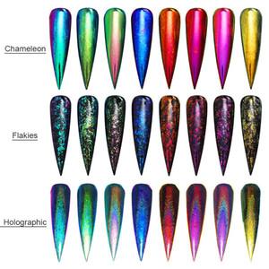 8 Pcs NÉ JOLI Holographique Caméléon Nail Sequins Set Miroir Nail Art Chrome Pigment Poudre Glitter Paillettes UV Gel Polonais