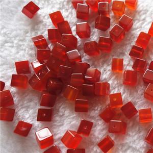 DIY Изготовление ювелирных изделий Сыпучие Beads натуральный красный агат 6мм площади куб сквозное отверстие драгоценных камней 100шт / много