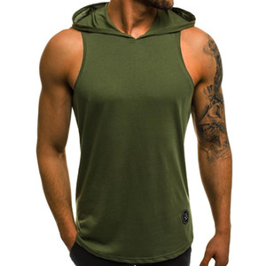 2018 New Products Fitness Men Bodybuilding Cotton Sleeveless Top Solid Stringer Hoodie Tank Top Summer Mens hooded Shirts Vest
