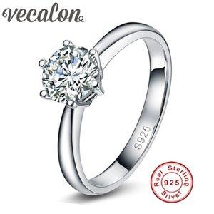 X Vecalon Fine Jewelry all'ingrosso Marca 925 Sterling Silver Ring 1 5A Zircon cz Fedi nuziali di fidanzamento per le donne