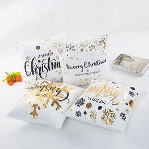 16 Arten Bronzing Weihnachten Kissenbezug für Sofa Auto Kissen Weihnachtsbrief Drucken Kissenbezug KissenLip Bettwäsche 45 * 45 cm C5486