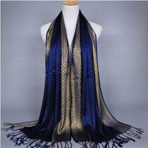 Frauen Schal Goldfaden Fashion Print Glitter Quaste Baumwolle Lurex Plaid Streifen Schals Schals Lange Hijab Muslim Schal 16 Farben
