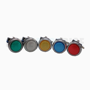 Free shipping 24MM Illuminated silver coated Push Button with microswitch for arcade game machine multi colors available