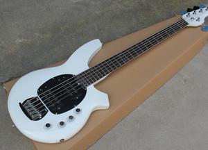 5 Cordas Branco Guitarra Baixo Elétrico com Circuito Ativo, Escudo Branco, escala em Rosewood, oferecendo serviços personalizados