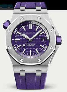 2019 Hot Mens Watch 2813 automatique cadran bleu 15710ST en caoutchouc bleu Montres Sport Waterproof Diver Wristwatche 42mm DP usine