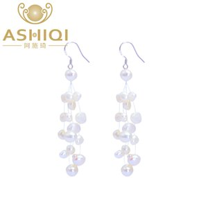 ASHIQI Authentic Natural Baroque Freshwater Pearl earring Tassels 925 sterling silver Drop Earrings for Women Gift Drop shipping